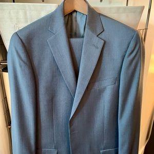Hart Schaffner Marx Navy Blue Striped Suit 42L